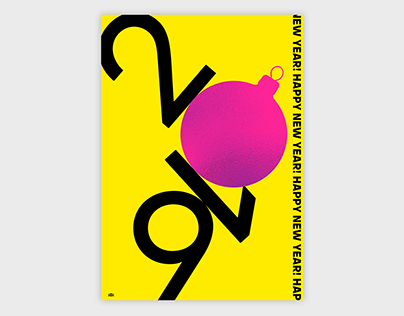 New Year 2019 yellow poster