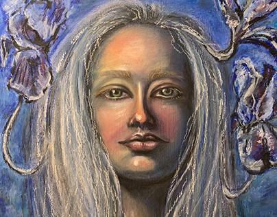 Self-portrait with emerging irises