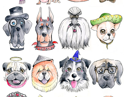 Watercolor Dogs Collection