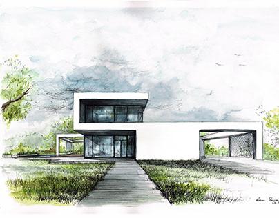 modern house, final sketch