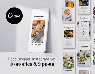 Food Blogger Instagram Stories & Posts Canva template