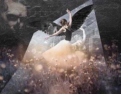Digital collage of ballerina