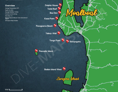 Map of Moalboal's Dive Sites