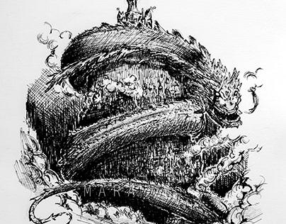 Messy Snake Dragon Sketch