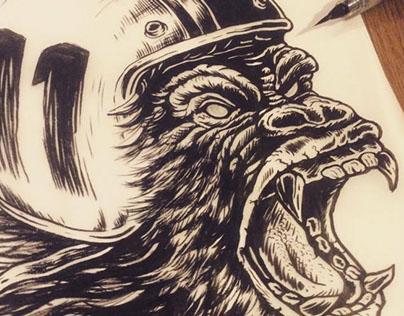 Gorilla illustration for Pronto clothes - SHANGAI