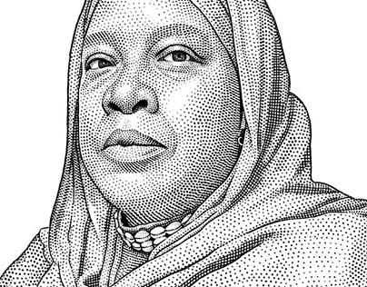 Stipple portrait of Asma Hanif