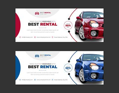 Car Rental Service Facebook Cover Social Media Template