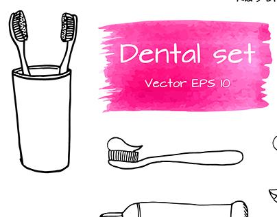 Hand drawn Dental set
