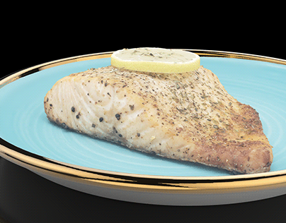 Air-Fried Salmon with cilantro & slice of lemon