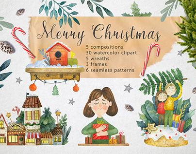Merry Christmas - Watercolor Set