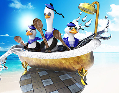 3 penguins in water and bath - 3 пингвина