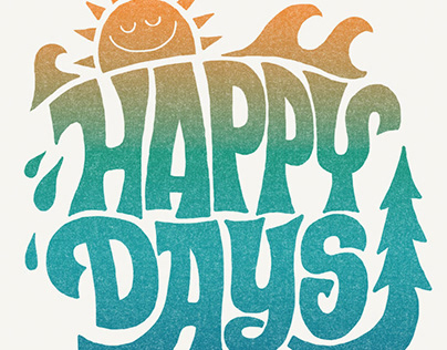 Happy fun summer time graphics and lettering