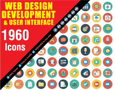 WEB Design Development Flat Icons Bundle, 1960 Icons