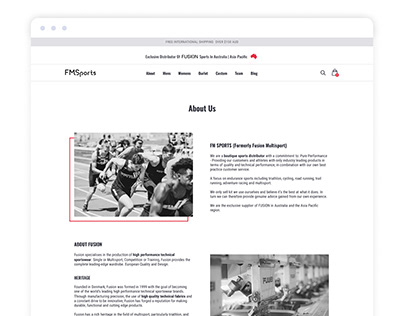 Minimalist About page for a boutique sport store