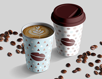 Coffee cup with New Year theme pattern design