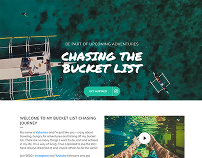 Mockup and development. chasingthebucketlist.com