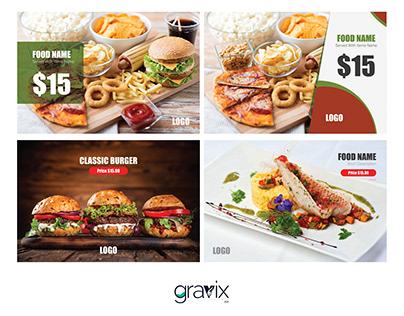 Basic 4 Restaurant Facebook post design template Pack