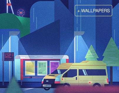 Bus Stop illustrations
