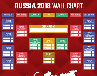 Russia 2018 World Cup Wall Chart