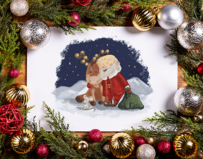 Christmas for Santa Claus. New Year's set of cards.