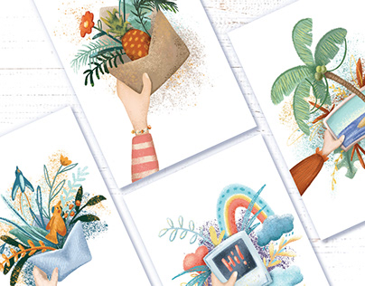 Tropical Summer In Hand. Postcard or stationery design