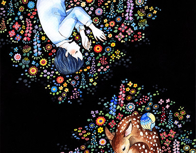 """illustration """"In the forest of sleep"""""""