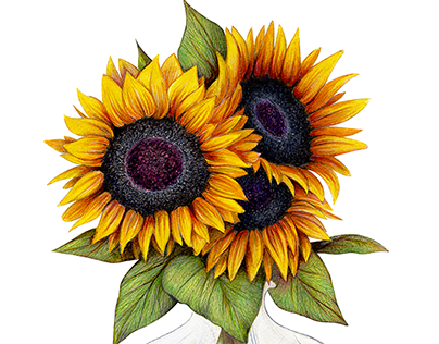 Sunflowers in a Vase Portrait