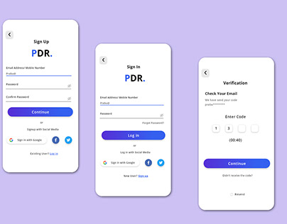 Mobile App Login and Register Page UI Design