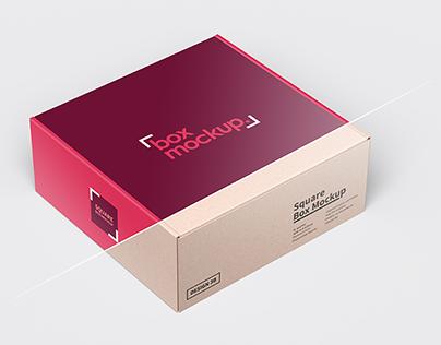 Square Box Packaging Mockup 3b
