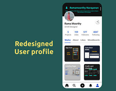Behance user profile redesigned