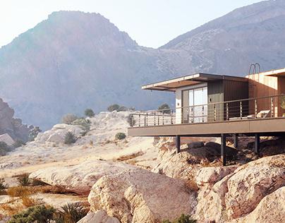 Private house in the vastness of the California desert