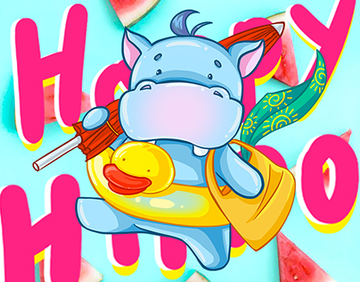 Happy Hippo Summer sticker pack