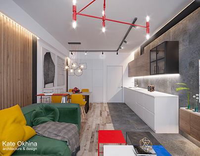 Дизайн молодежной квартиры у моря под аренду
