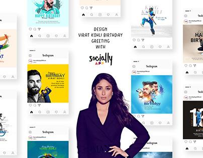 design virat kohli birthday greeting,post & story wish