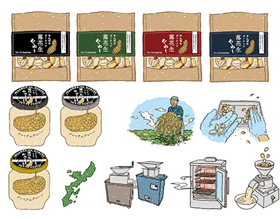Pamphlet illustration of peanuts and paste foods.