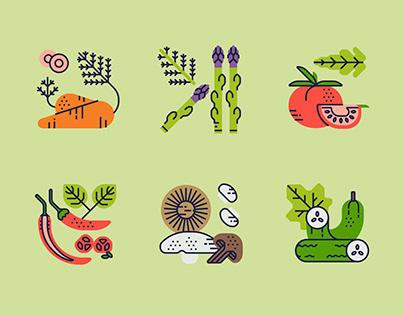 Veggie Bites icon set