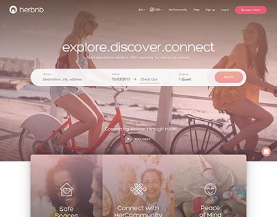 HerBnB Logo Design and Proposed Website Redesign