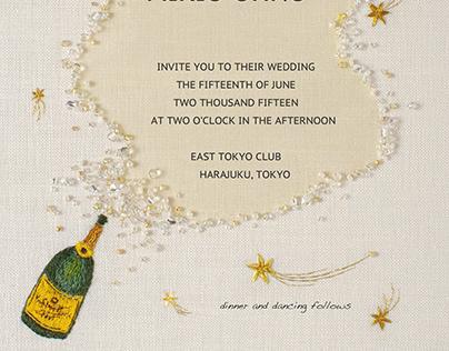 Wedding invitation card (champagne)