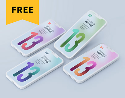 Free iPhone 13 Pro Clay Mockup Set