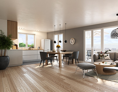 Renders of apartment in Residential building in France.