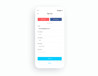 simple, clean and modern sign up screen UI design