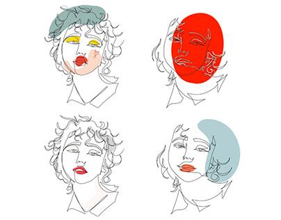 One line portrait, illustration for branding