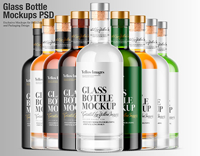 Glass Bottle Mockups PSD