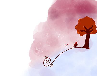 Girl in autumn wind