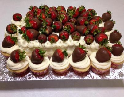 Chocolate Covered Strawberry Cake & Cupcakes