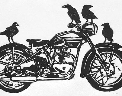 The Birds Motorcycle Linocut Print