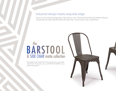 The Barstool & Side Chair Photography and Promotionals
