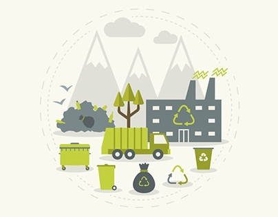 Recycling Garbage Icons Set