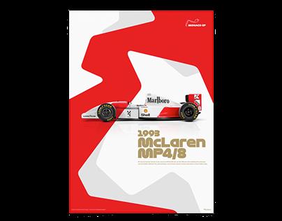 Ayrton Senna-McLaren MP4/8 Formula 1 poster