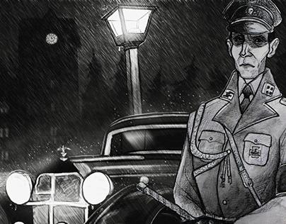 Ilustración para corto animado. II Guerra Mundial.